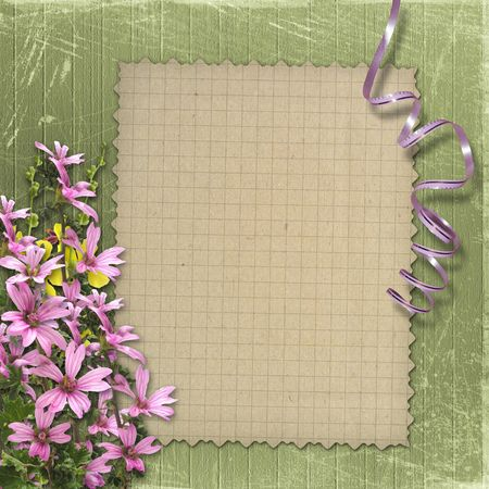Green abstract background with sheet and floral beautiful bouquet photo