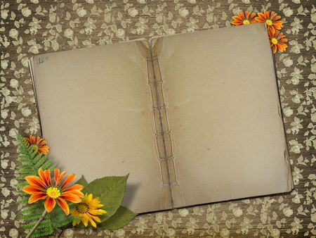 Herbarium of flowers and leaves on the floral background with open book photo