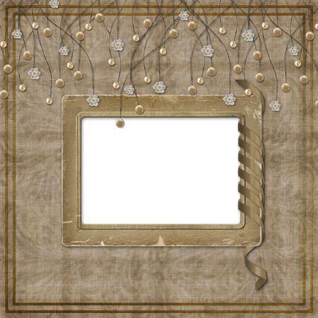 suspended: Beige abstract background with suspended beads and frames