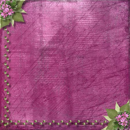 Pink abstract background with floral beautiful bouquet and beads Stock Photo