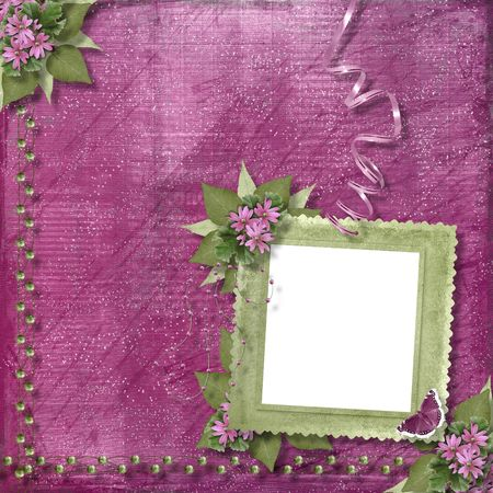 wedding photo album: Pink abstract background with frame and floral beautiful bouquet