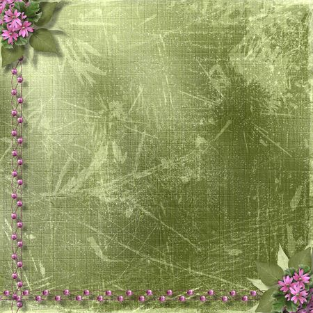 Green abstract background with floral beautiful bouquet and beads Stock Photo - 4704760