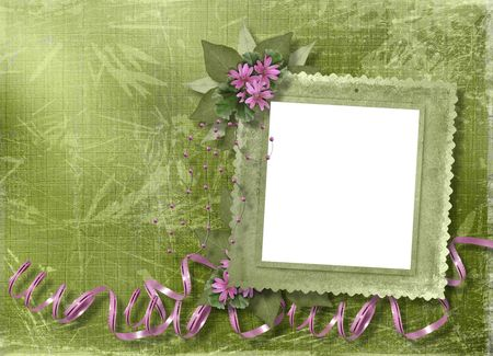 Green abstract background with frame and floral beautiful bouquet Stock Photo - 4704767