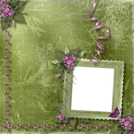 Green abstract background with frame and floral beautiful bouquet Stock Photo - 4704759