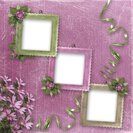 Three frameworks for photo on the pink background Stock Photo - 4704762