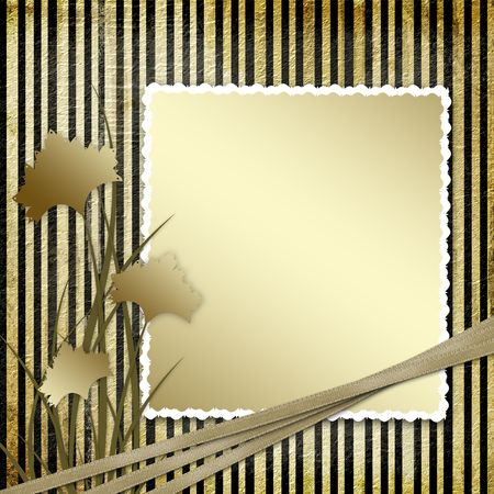 Postcard invitation with brown carnation to the striped background Stock Photo - 4719314