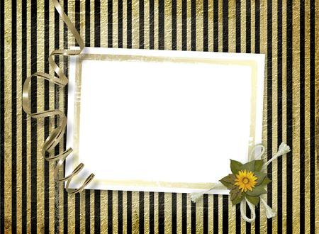 Postcard for invitation with gold frame and floral branch Stock Photo - 4719316