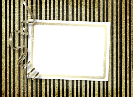 lacet: Postcard for invitation with gold frame and ribbon Stock Photo