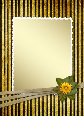 Postcard for invitation with gold frame and floral branch Stock Photo - 4719312