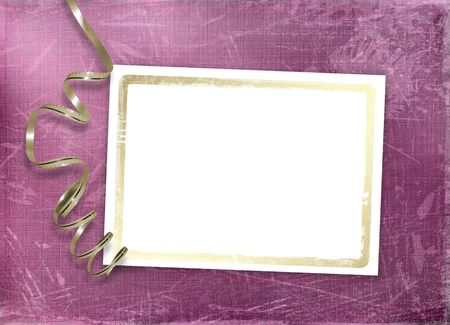 Postcard for invitation with gold frame and streamer Stock Photo - 4719315