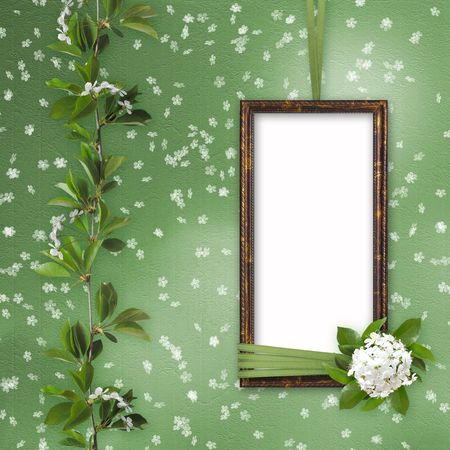 lacet: Green abstract background with frame and beautiful bouquet