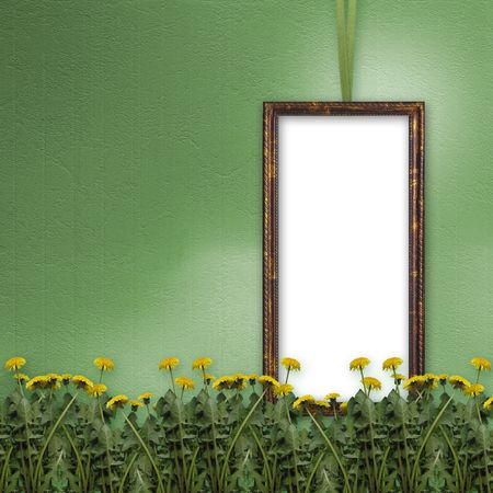 lacet: Green abstract background with frame and flowers of dandelion Stock Photo