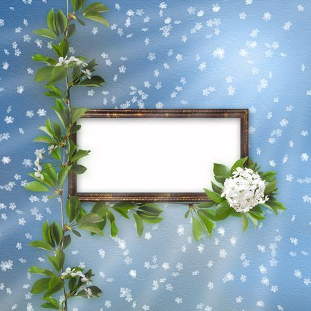 Blue abstract background with frame and  beautiful bouquet photo
