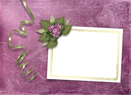 Postcard for invitation with gold frame and floral branch photo
