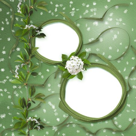 lacet: Two framework on the green abstract background with Sakura