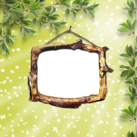 Wooden framework for portraiture on the wooden background with  branches photo