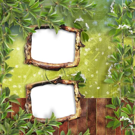 Two Wooden frameworks for portraiture on the background with  branches photo