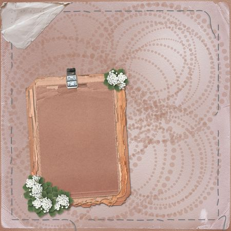 Grunge papers design in scrapbooking style with bunch of flowers photo