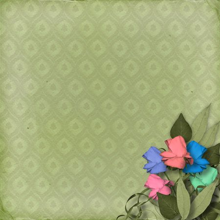 Green ornamental background with floral beautiful bouquet Stock Photo - 4829617