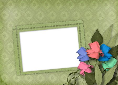 Green ornamental background with frame and floral beautiful bouquet Stock Photo - 4829619