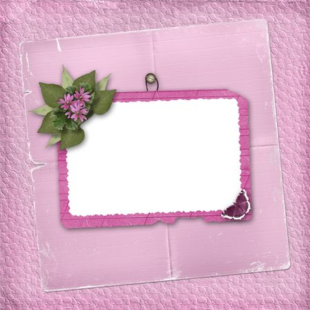 Pink abstract background with frame and floral beautiful bouquet