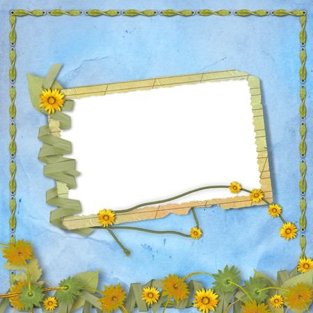 Grunge papers design in scrapbooking style with frame and bunch of flowers photo