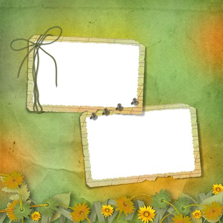 flourishing: Two grunge frames with bunch of flowers and streamers Stock Photo