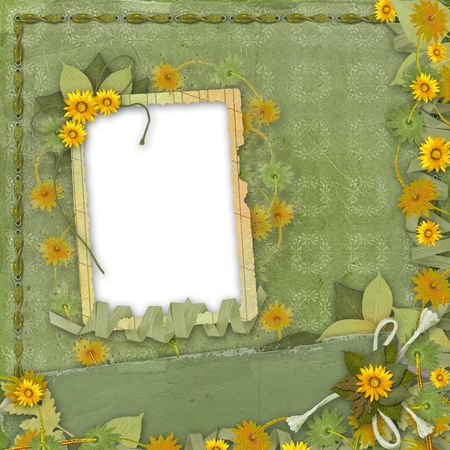 Grunge papers design in scrapbooking style with frame and bunch of flowers Stock Photo - 4908447