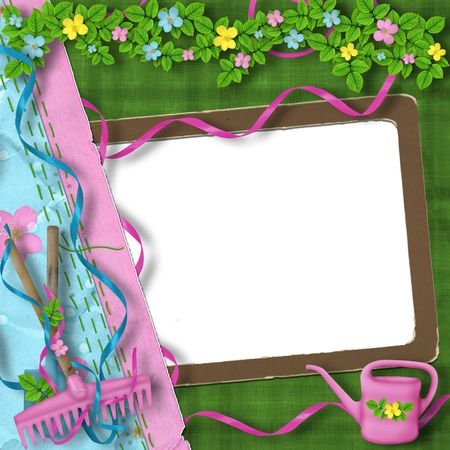 sundry: Vintage frame with bunch of flowers on the abstract background Stock Photo