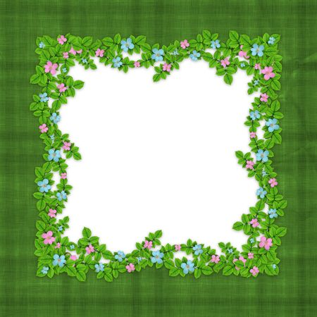 abstract art vegetables:  Frame of flower garland on the abstract green background Stock Photo