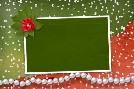 Frame for photos with pearls and bunch of flower Stock Photo - 5073452