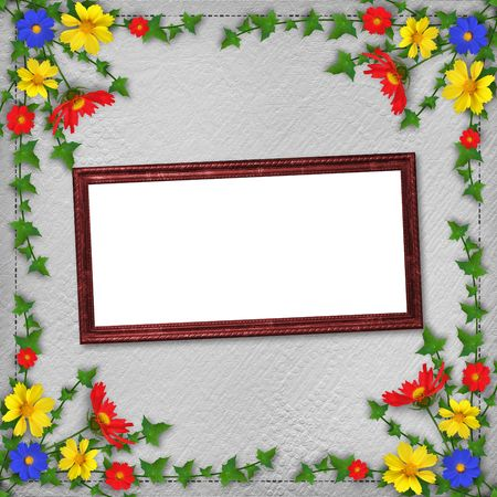 Grunge wooden frame  in scrapbooking style with bunch of flowers photo