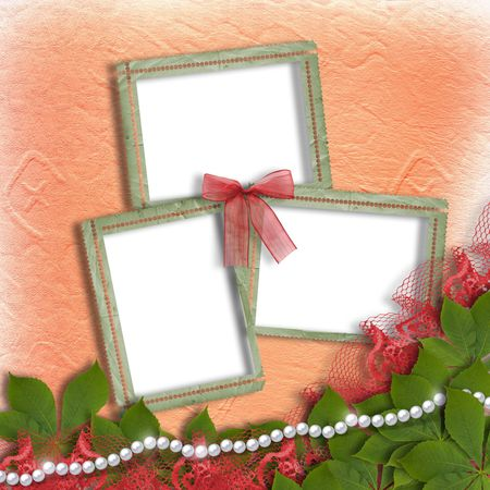 Three grunge frames for photos with bow, fillet and lace photo