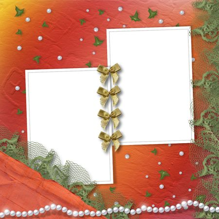 Two grunge frames for photos with bow and lace Stock Photo - 5110904