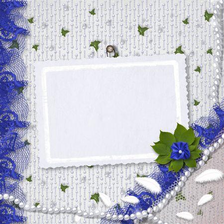 wedding photo frame: Card per congratulazioni o anniversario con perle e mazzo di fiori