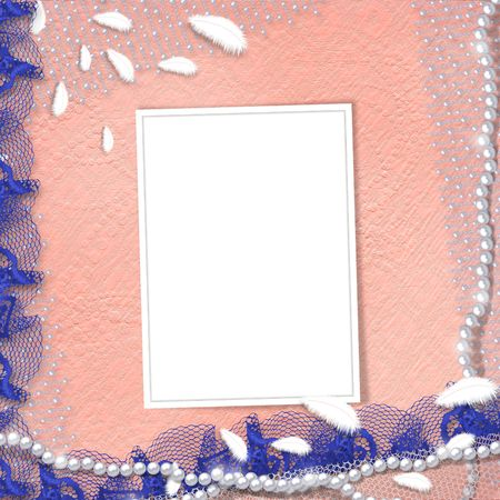 Frame for photo with pearls and blue lace photo
