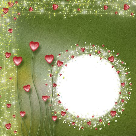 Frame for photos with hearts on the green background Stock Photo - 5110931