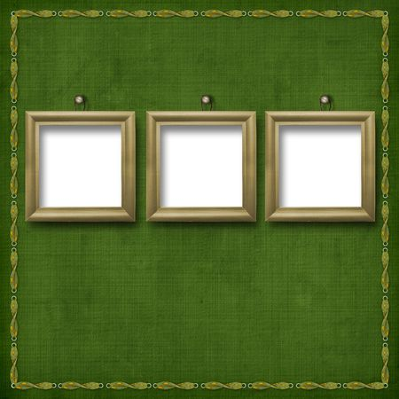 portraiture: Three wooden frameworks for portraiture on the abstract background