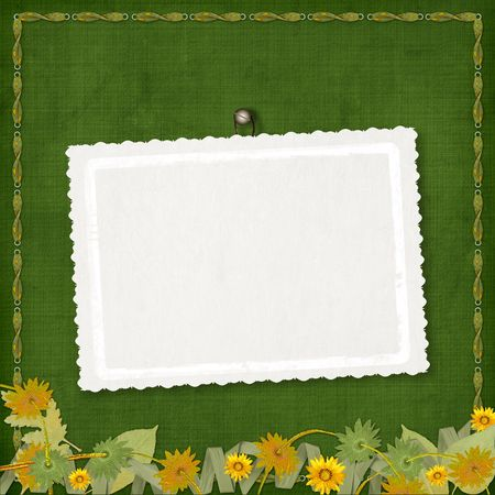 ornamente: Card for greeting or congratulation with bunch of flowers and streamers Stock Photo