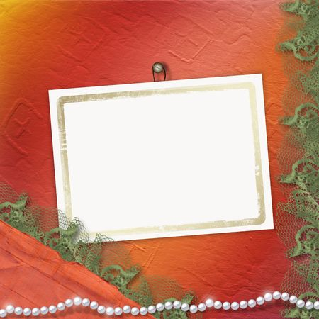 Frame for anniversary or congratulation with pearls and lace photo