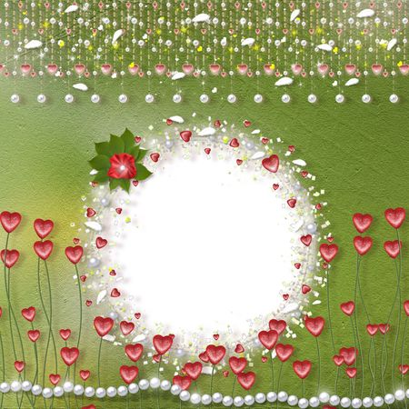 Card for photo with hearts, pearls and feathers photo