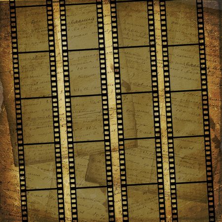 film history: Grunge brown background with ancient ornament