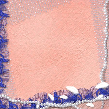 Card for anniversary or congratulation with pearls and blue lace photo