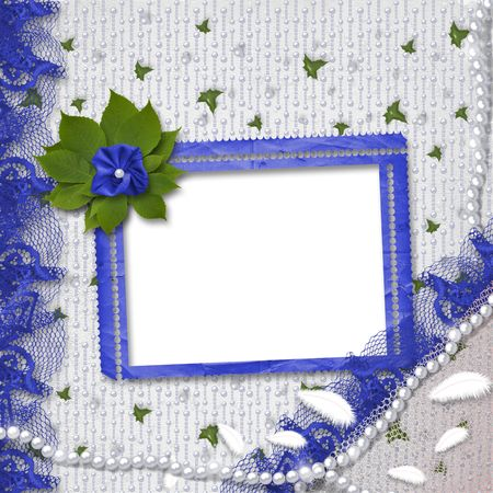 Frame for photo with pearls and bunch of flower photo