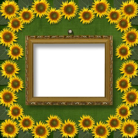 Wooden framework for portraiture on the abstract background with sunflowers photo