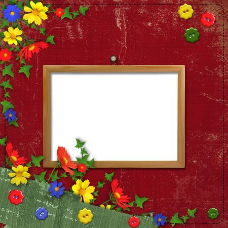 Wooden framework for portraiture on the abstract background with flowers photo