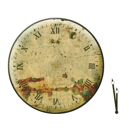 dials: Old shabby face and hands on the white isolated background Stock Photo