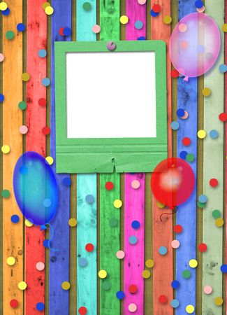 Old slide with balloons and confetti on the abstract background photo