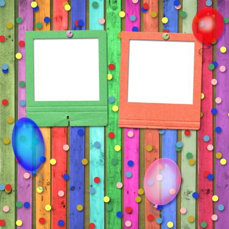 Old slides with balloons and confetti on the abstract background photo