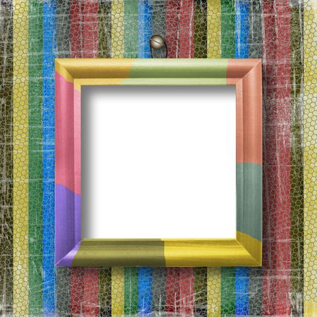 striped scratch background with wooden multicolored frame photo